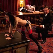 Guests fuck on table and are served by sex slaves.