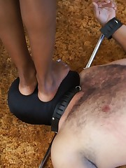 Three ebonies humiliating their slave consistent with beyond everything him together