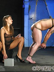 Slave tied, whipped and forced to fuck