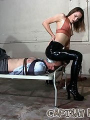 Tied down and mouth-packed, wild bill does not stand a chance with this Dominatrix who sits on his face