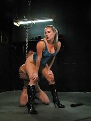 Blonde domina used slaveboy for sex and ass licking