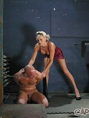 Strapon fucking and foot domination