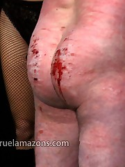 Three girls caned the malesub brutally