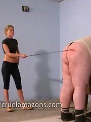Dominatrix punished big fat boy
