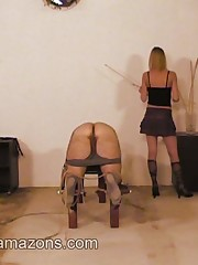 Blonde domina caned malesub