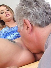 A slaveboy eats domina`s feet, ass and pussy