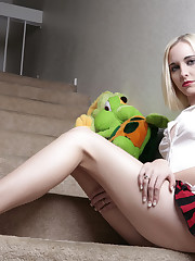 cute pale skinned blonde raver girl gets naked at home