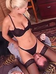 Blonde sat on husbands face