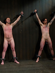 Three slaves live in cage and suffer from  perverted Mistresses