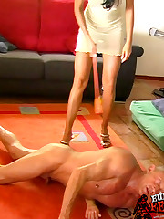 Female foot domination and trampling