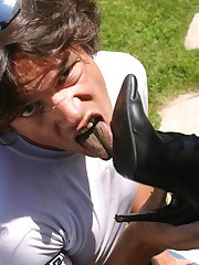 Man is cleaning the dirty heels by tongue