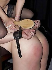 A collared slave must please his mistress