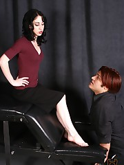Mina calls her slave out on his bad behavior- he's now gotten caught in her friend's closet sniff....