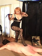 Hot blonde in stockings binds and whips dirty old man