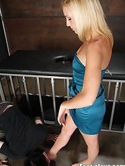 Blonde domina gets her toes licked and tramples slaveboy