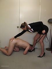 Malesub licks mistress` heels