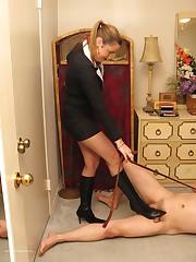 The lady in heels tramples malesub