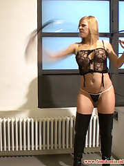 The blonde mistress bullwhipped slave