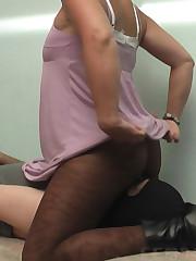 Naomi Having fun with a slave inside her pantyhose