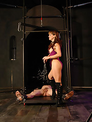 Sexy domme cuffs and stretches her male slave, rides cock and makes him cum while he`s helpless
