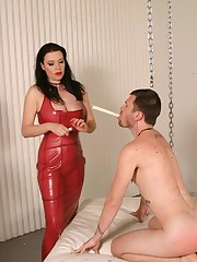Enslaved stud lets his mistress flog and wax him