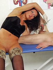 Medical goddess places a cock under control