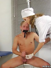 Panty-gagged male slave of two crazy nurses