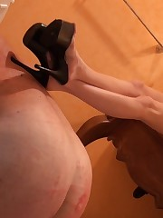 Bad slave must drink water from WC after Mistress's pissed