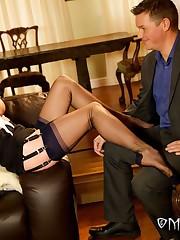 The mistress footjobbing slave's cock