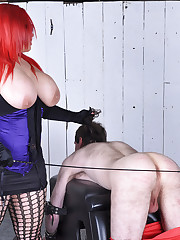 Mistress Jemstone gives submissive beating and penis kicking