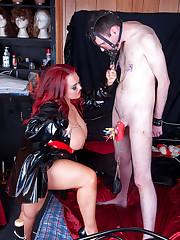 Jemstone whip cracking submissive Simon and kickin his balls