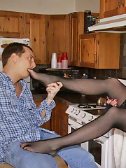 Alluring mature gets bare feet licked