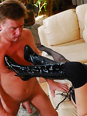 Dude worships feet and heels of two babes