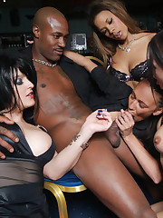 Club owner gets blowjob from four hot strippers