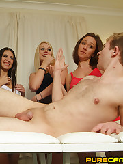 Lucky guy gets naked handjob off four stunners during massage