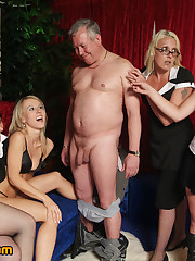 Four girls strip and wank male manager at end of adult chat show