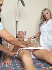 The beautiful nurses giving handjob to older man
