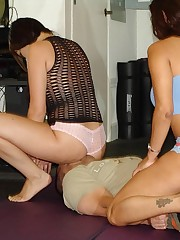 Gia and Francesca take a break from their workout to perform harsh ass to face suffocation