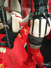 Strapon mistress tied sissy`s balls and fucked him
