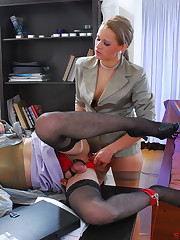 Bossy lady administers harsh punishment to her negligent male subordinate