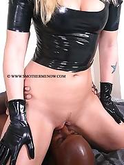 Blondy sat on black slave
