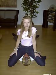 Girl in jeans facesitter