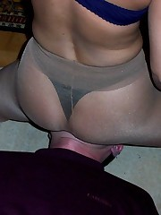 Slave's face under pantyhos ass