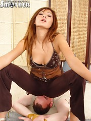 Hot Mistress likes her sub smothering under her butt