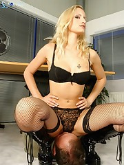 Crazy role-play with a hot Mistress sitting on her slave