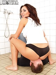 Cool Mistress giving her slave hard smothering experience