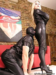 Leather Catsuit mistress and slave