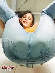Brunette girl with bare ass