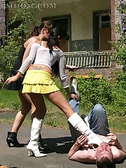 Two chicks trampled man outdoor