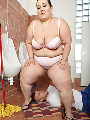 Brutal bbw face sitting and femdom arse servitude in the toilet